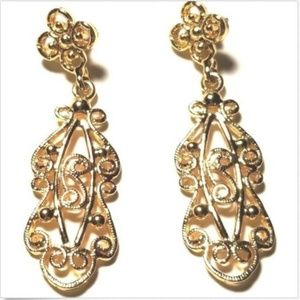 Vintage Golden Dangle Drop Earrings Pierced Ornate